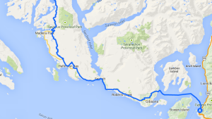 Coastal bike route on the map of the Sunshine Coast